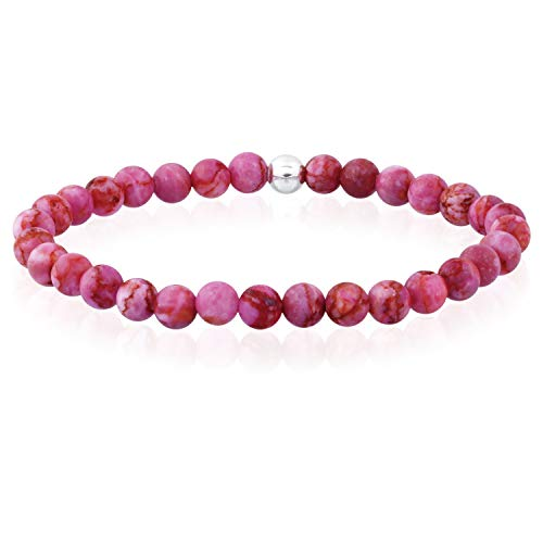 Sea of Ice Pink Agate 6mm Round Beads with Sterling Silver Stretchy Beaded Bracelet 7.5