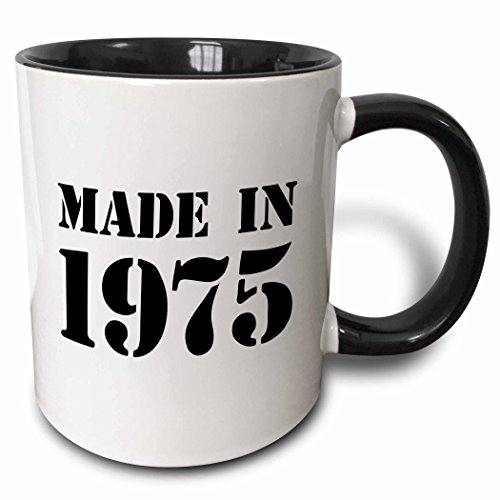3dRose Made in 1975 Funny Birthday Birth Year Text Fun Black Bday Stamp with Year You Were Born Humor Two Tone Black Mug, 11 oz, Black/White