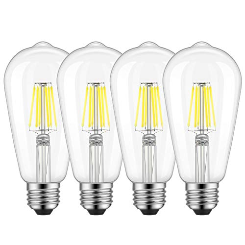 (Dimmable Edison LED Bulb, Daylight White 4000K, Kohree 6W Vintage LED Filament Light Bulb, 60W Equivalent, E26 Base Lamp for Restaurant,Home,Reading Room, 4 Pack(Daylight White, NOT Soft/Warm White))