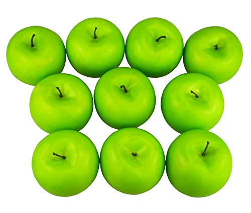 - JEDFORE 12 Pcs Simulation Artificial Lifelike Fake Green Apple Set Fake Fruit for Home House Kitchen Wedding Party Decoration Photography