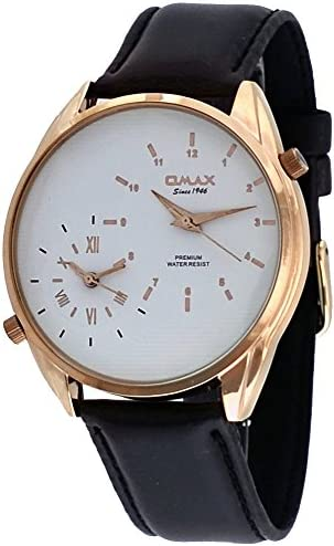 Omax S002R321 Men s Leather Band Rose Gold Tone Dual Time Zone Watch