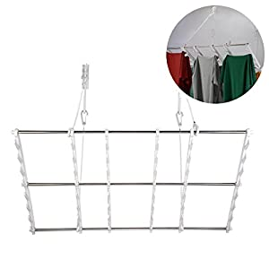 JIAPUSI Multifunctional wall folding drying rack and Door Hanger for Clothing or Towel Home and Dorm Room Storage and Organization universal stainless steel and ABS Maximum Capacity 180lbs(four tiers)