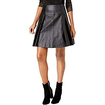 MICHAEL Michael Kors Womens Trendy Faux Leather Pleated Skirt