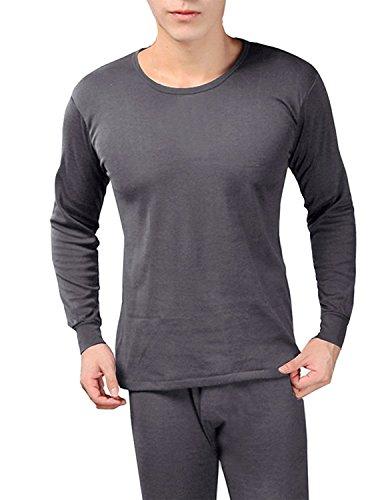New Mens Thermal Underwear Set (Peach Couture Mens Fleece Lined Soft Stretch Superior Warmth Thermal Underwear Pajamas 2 Piece Set (Dark Grey XL))
