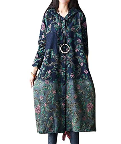 YESNO AC1 Women Loose Denim Trench Jacket Coat Floral Printed Button-Down Drawstring Hoodie Outerwear Breast/Side - Coat Womens Trench Floral