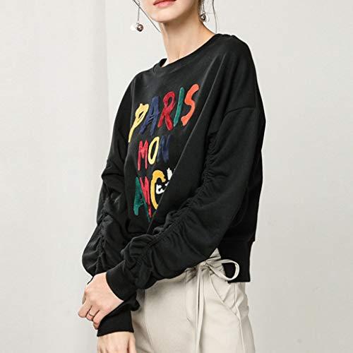 Las Suelto Larga Otoño Impresión Black Manga Suéter Invierno Cuello ff Mujeres Bajo De Tops Lff Redondo E q87BEOw