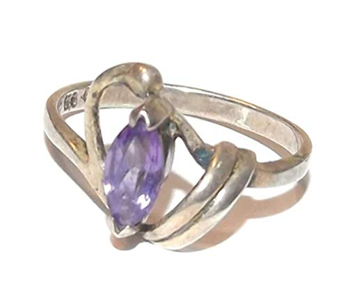 (Vintage Sterling Silver Art Nouveau Ring w/Marquis Cut Amethyst Stone - Size 7.5)