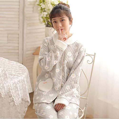 El Grau Para Conjunto Mujer Espesar Pijamas Invierno Termica Ropa Pantalones Elegantes Larga Noche Moda Florales Pijama De Manga Hogar Cómodo wqgxI6qOH