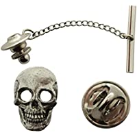 Skull Tie Tack ~ Antiqued Pewter ~ Tie Tack or Pin ~ Sarah's Treats & Treasures
