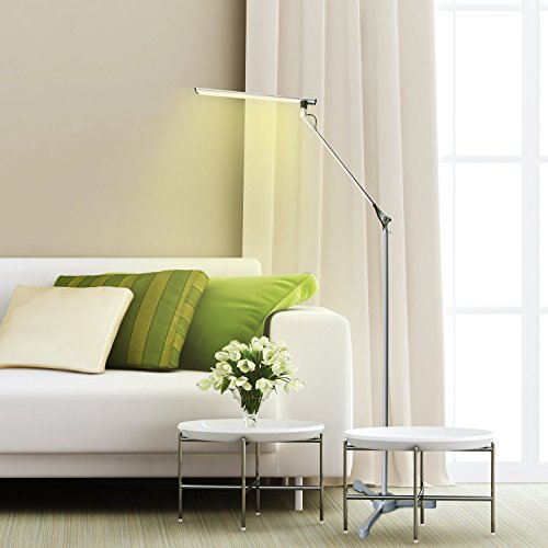 hitect Swing Arm,LED Standing Lamp for Living Room,12W Dimmable Eye-caring Lamp for Reading Task with 5 Brightness and 5 Color Modes,Touch Control and Memory Function, Silver ()