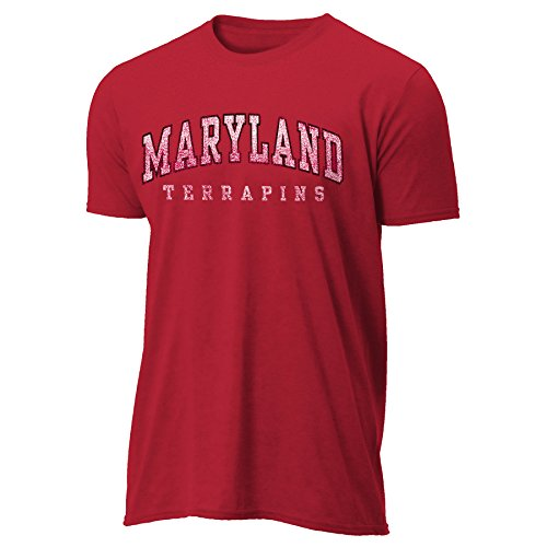 NCAA Maryland Terrapins Men's Arched Letters Vintage Sheer Tee, XX-Large, Antique Cherry Red