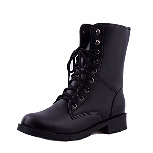 Women's Military Ankle Lace Up Buckle Combat Boots Mid Knee High Exclusive Credit Card Pocket Booties-Steplove