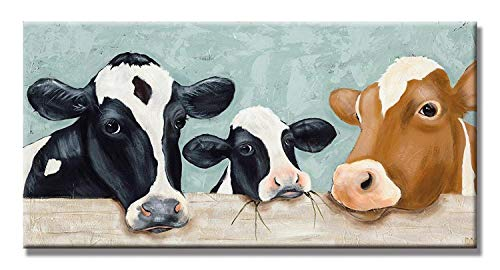 3 Dairy Cattle Painting Canvas Family Cows Hand Painted Oil Painting Artwork Wall Decor for Living Room Bedroom,Ready to Hang 12X24 Inch