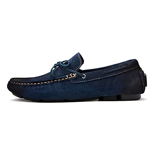 Cuero Zapatos para Pies Casuales Zapatos Hombres Mocasín de Azul HwqOxnR5