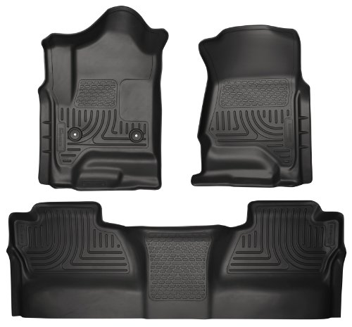 Full Set Husky Liners Weatherbeater All Weather Custom Fit Floor Mat Liner for 2015 Chevy Silverado 1500 Crew Cab