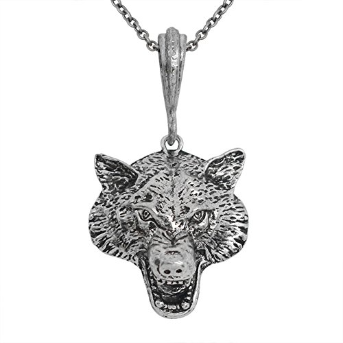 yihan jewelry Unisex Sterling Silver Plated Punk Growled Wolf Head charm Pendant ()