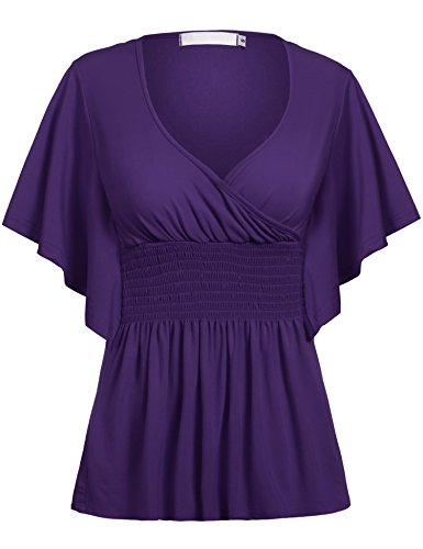ELESOL Women's Batwing Sleeve Slim Fit V-neck Short Smocked Empire Waist Tunic Top Pruple (Smocked Waist Tunic)
