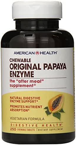 American Health Original Papaya Enzyme Chewable Tablets - Promotes Nutrient Absorption and Helps Digestion - Gluten-Free, Vegetarian - 250 Count, 83 Total Servings