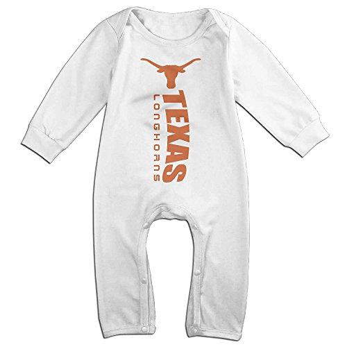 KIDDOS Baby Infant Romper Texas Longhorns Logo Long Sleeve Jumpsuit Costume,White 24 Months ()
