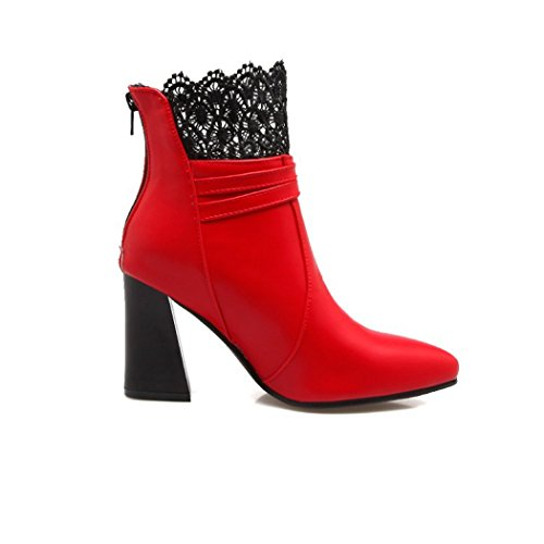 boots ZQ Tip rough like zipper of rear heel week red female QX shoes versatile for the high and boots lace YYwnUx