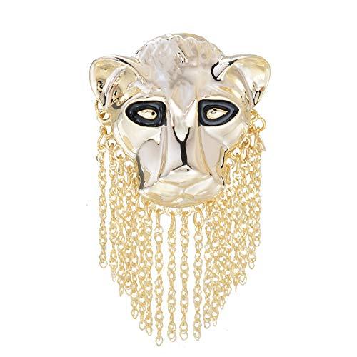 OBONNIE Vintage Black Enamel Large 3D Lion Leo Head Brooch Pin 18K Gold Silver Tone Corsages Jewelry (Gold) (Vintage 18k Brooch)