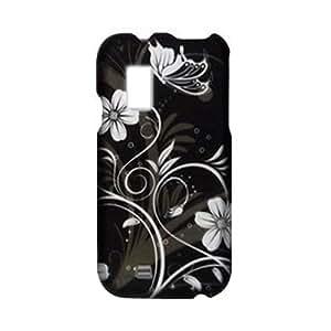 SODIAL(R) Negro - Funda Rigida de Goma para Samsung Galaxy S Fascinate I500 /Verizon, Diseno de Parras Flores Mariposa de Color Plateado