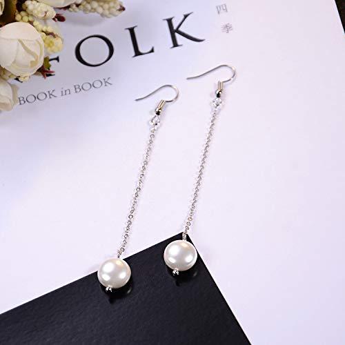 sansei III Miles Peach yang mi Dress up susu White Light Earrings earings Dangler Eardrop Long Natural Pearl Jewelry