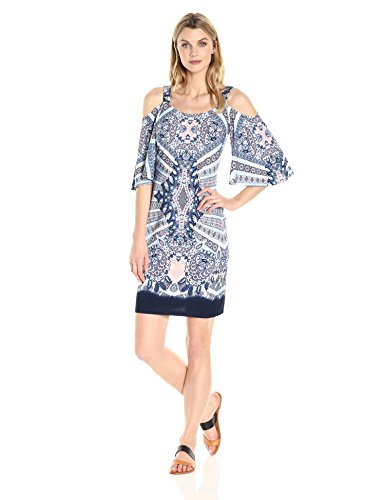 Robbie Bee Women's Printed Ity Cold Shoulder Shift Dress,...