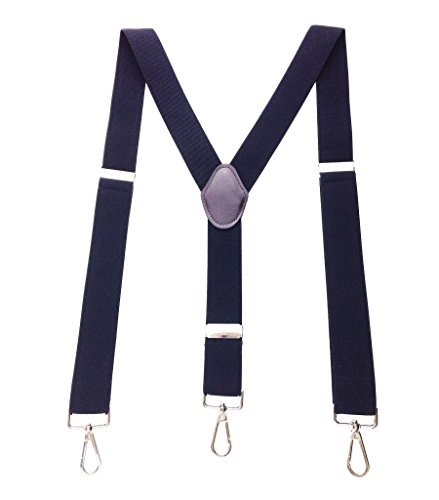 Romanlin Suspenders for Men with Hooks 3 Adjustable Clips Heavy Duty Big and Tall Belt Loops Suspenders Braces -