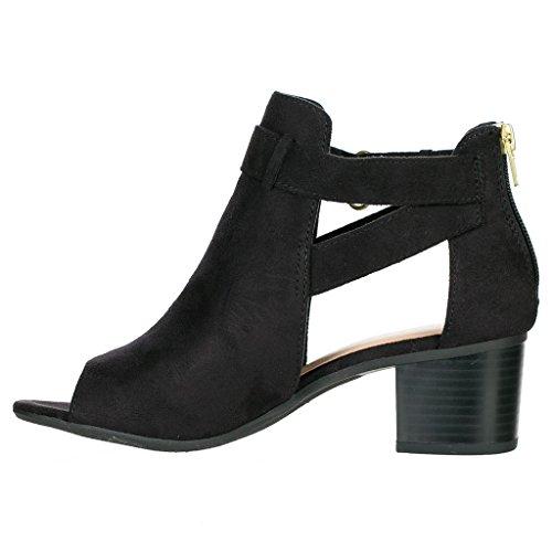 Forever Frauen Schnalle Block Block Heel Ankle Booties Schwarze Peep Toe