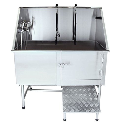 Flying Pig Grooming 50' Stainless Steel Pet Dog Bath Tub with Faucet (Right Door/Left Drain), 50 x...