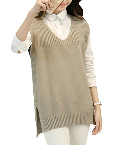 Tops Manches Sans Pull over Tunique Femmes Collar Deep Tricot Sweater V Haut Blouse Kaki Gilet pEFqxUUwf