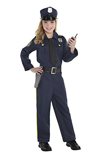 amscan Girls Classic Police Officer Costume - Small (4-6), Navy -