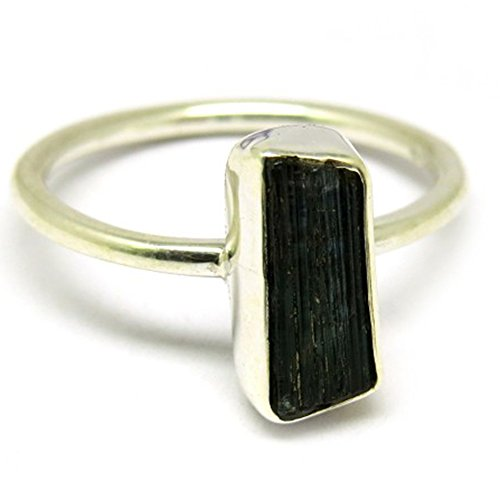 Rough Black Tourmaline Gemstone Silver Plated - Gemstone Ring Tourmaline