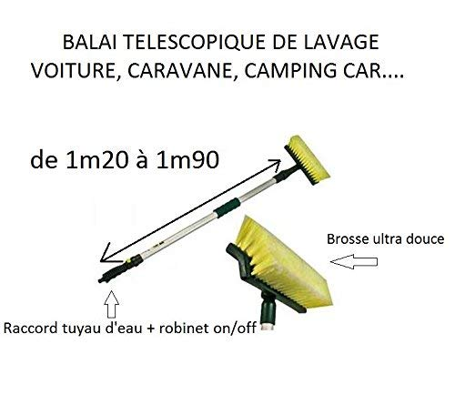 Balai Brosse de lavage té lé scopique pour camping car / caravane voiture + raccord d eau on/off divers