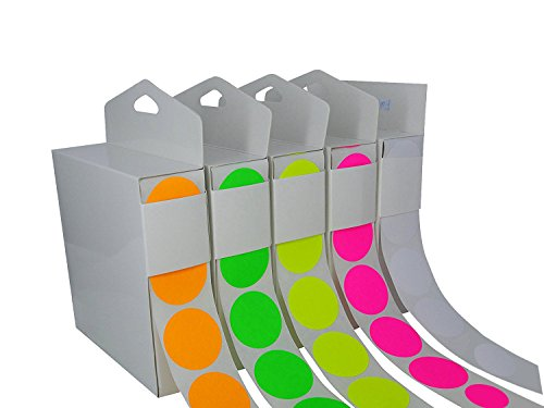 Color Coding Labels Super Bright Fluorescent Neon Yellow, Green, Orange, Pink, White Round Circle Dots + (Dispensing Box) Organizing Inventory 1.5 Inch 2,500 Total Adhesive Stickers 500 of each -