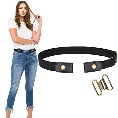 No Buckle Stretch Belt For Women Men Elastic Waist Belt Up to 72 Inch for Jeans Pants,Black,Pants Size 24-31 Inches