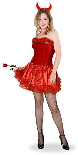 Sunnywood Women's Lava Diva Devil Corset Costume, Red, Medium/Large (Devil May Cry Halloween Costumes)