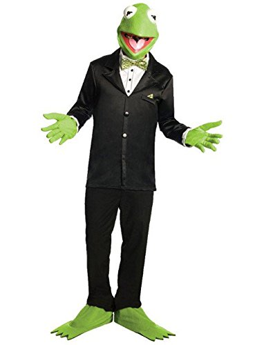 Kermit the Frog Muppets Costume Set with green mask, gloves and shoes.