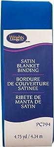 "Wrights 117794672 Single Fold Satin Blanket Binding, 2"" X4-3/4 yd, Snorkel Blue"