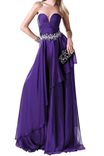 Lang Promkleid Chiffon Linie Violett Beliebt Herz Abendkleider Ivydressing A Festkleid Ausschnitt aYO1qp