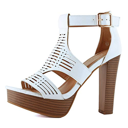 Guilty Shoes Womens Cutout Gladiator Ankle Strap Platform Block Heel Stiletto Sandals (7 M US, Whitev8 Pu) ()