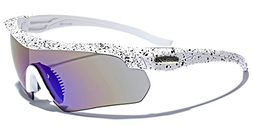 Half Frame Men's Cycling Triathlon Baseball Running Sports Sunglasses - White / Revo Blue Lens