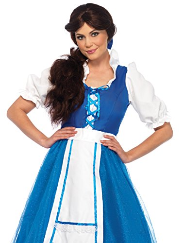 Leg Avenue Women's Belle of The Ball Village Costume, Blue/White, Medium