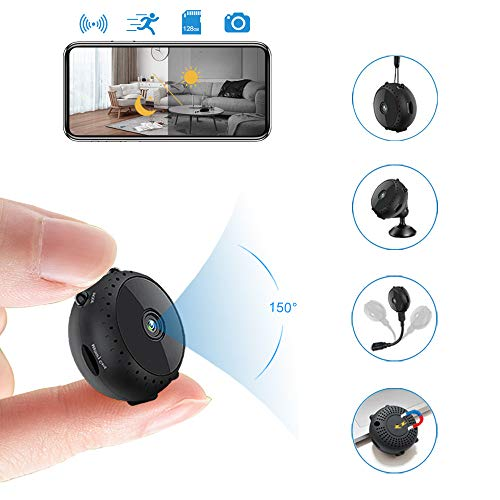 Spycam Video Camera, Mini Hidden Cam Wireless with Night Vision/Motion Detection Nanny Cam, Can Continue to Work for 6 Hours After Power Off, App Supports iOS Android PC,Black