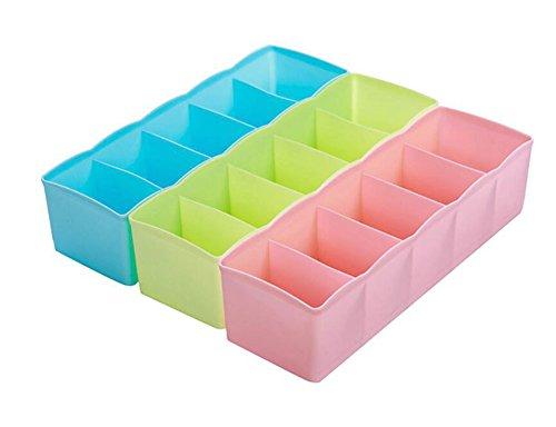 Hosaire Storage Box Multi-function Five Grid Plastic Underwear Sock Ties Separator Organizer Case Desk Drawer Closet Organizer ,Set of 3 Color by Hosaire (Image #7)