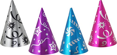 Todo D'Fiesta Birthday Party Cone Hats, Assorted Foil Colors, 20-Pack -