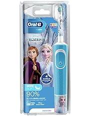 Oral-B Stages Power dziecięca elektryczna szczoteczka do zębów z motywem Krainy Lodu Disneya, 1 uchwyt, 1 głowica szczoteczki, UK 2-pinowa wtyczka dla dzieci w wieku 3+, wypełniacz skarpet dla dzieci
