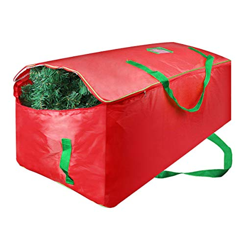 Christmas Tree Storage Bag - Xmas Large Tree Container - Reinforced Wide Handle and Double Sleek Zipper - Heavy Duty to Hold 9ft Disassembled Artificial Tree