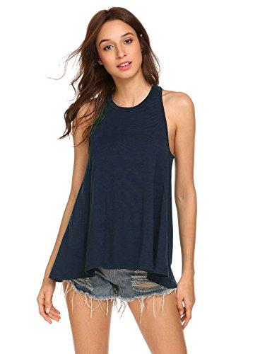 Pinspark Women's Summer Sleeveless Shirt Loose Fit Racerback Tunic Tank Tops Navy Blue Medium by Pinspark (Image #3)